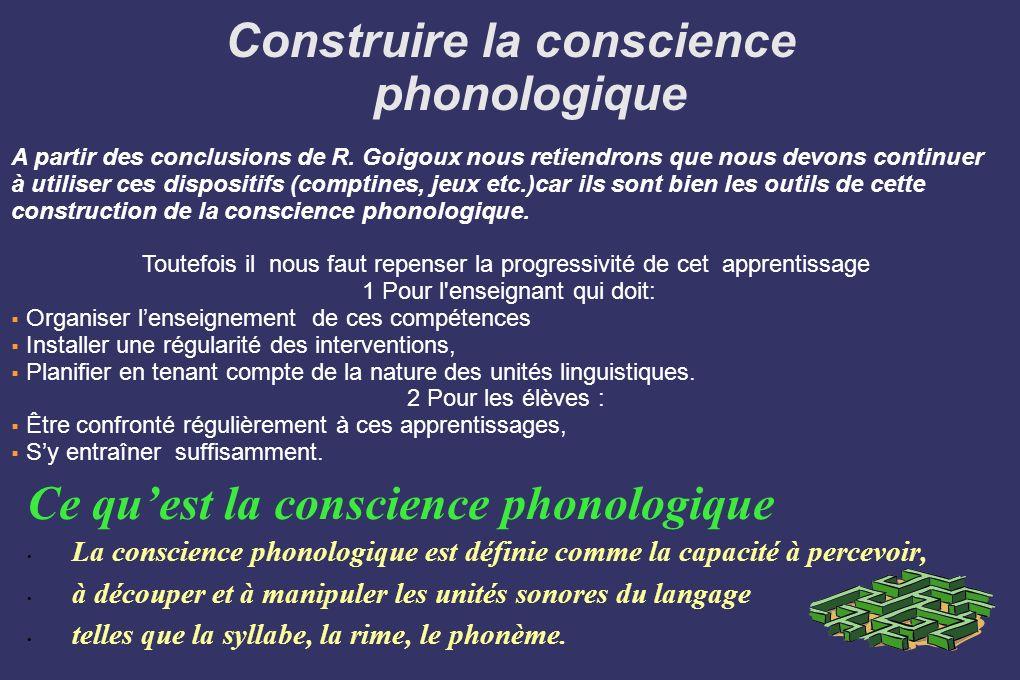 Construire la conscience phonologique Ce quest la conscience phonologique La conscience phonologique est définie comme la capacité à percevoir, à déco