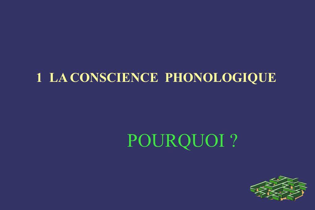 1 LA CONSCIENCE PHONOLOGIQUE POURQUOI ?