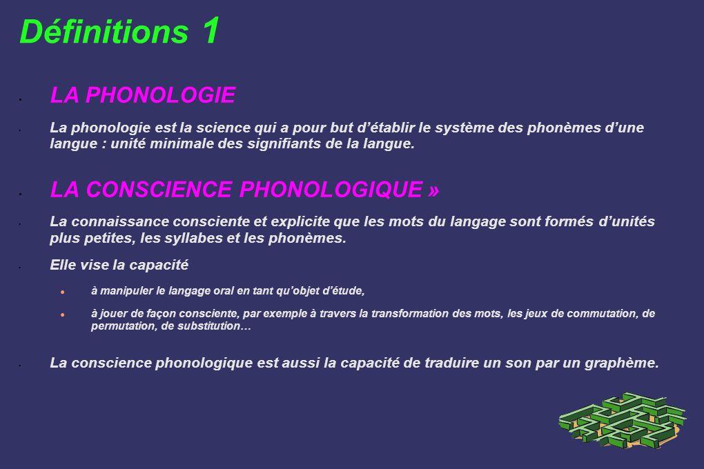Définitions 1 LA PHONOLOGIE La phonologie est la science qui a pour but détablir le système des phonèmes dune langue : unité minimale des signifiants
