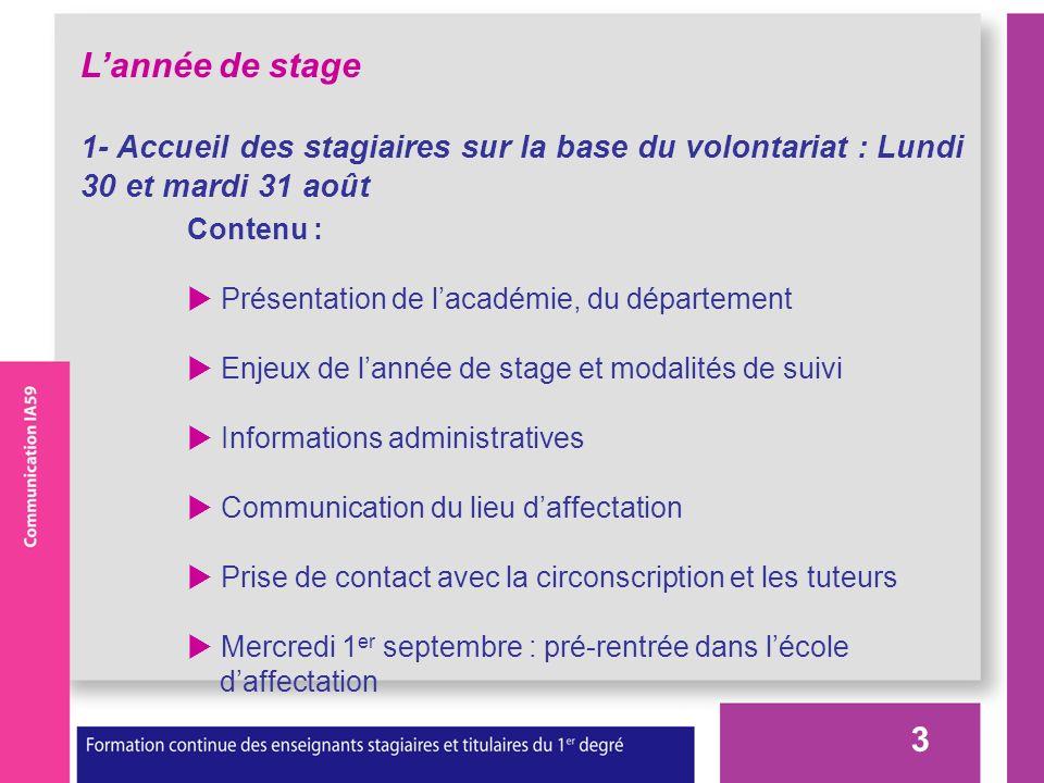 3 Lannée de stage 1- Accueil des stagiaires sur la base du volontariat : Lundi 30 et mardi 31 août Contenu : Présentation de lacadémie, du département