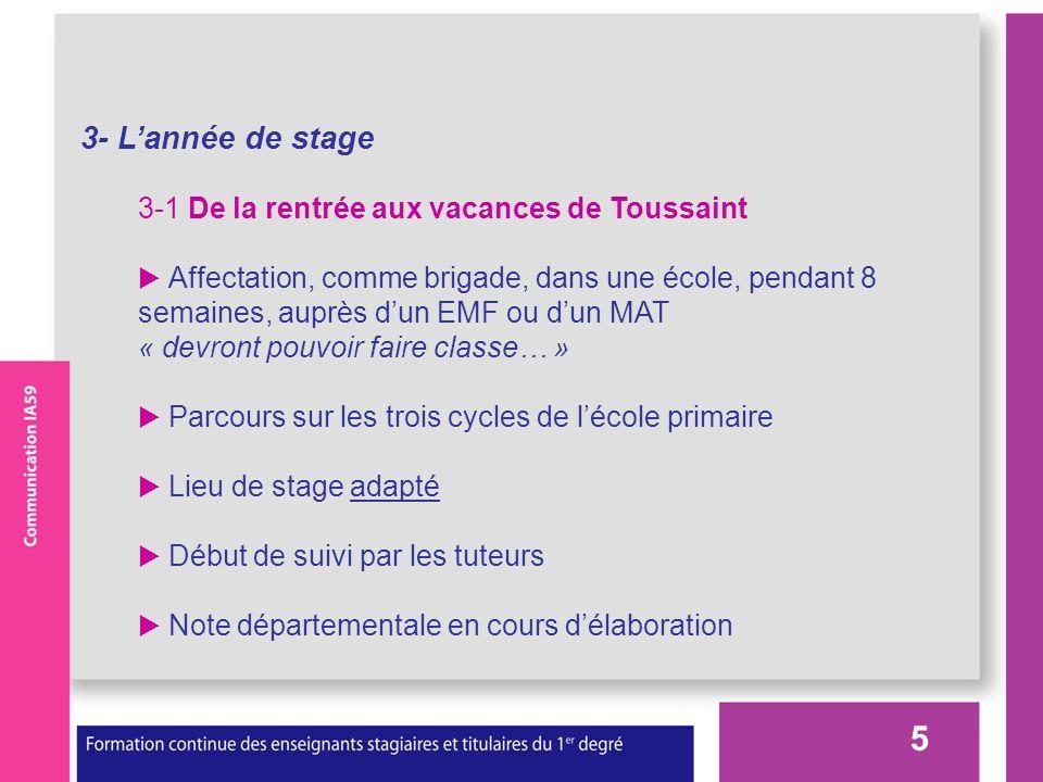5 3- Lannée de stage 3-1 De la rentrée aux vacances de Toussaint Affectation, comme brigade, dans une école, pendant 8 semaines, auprès dun EMF ou dun