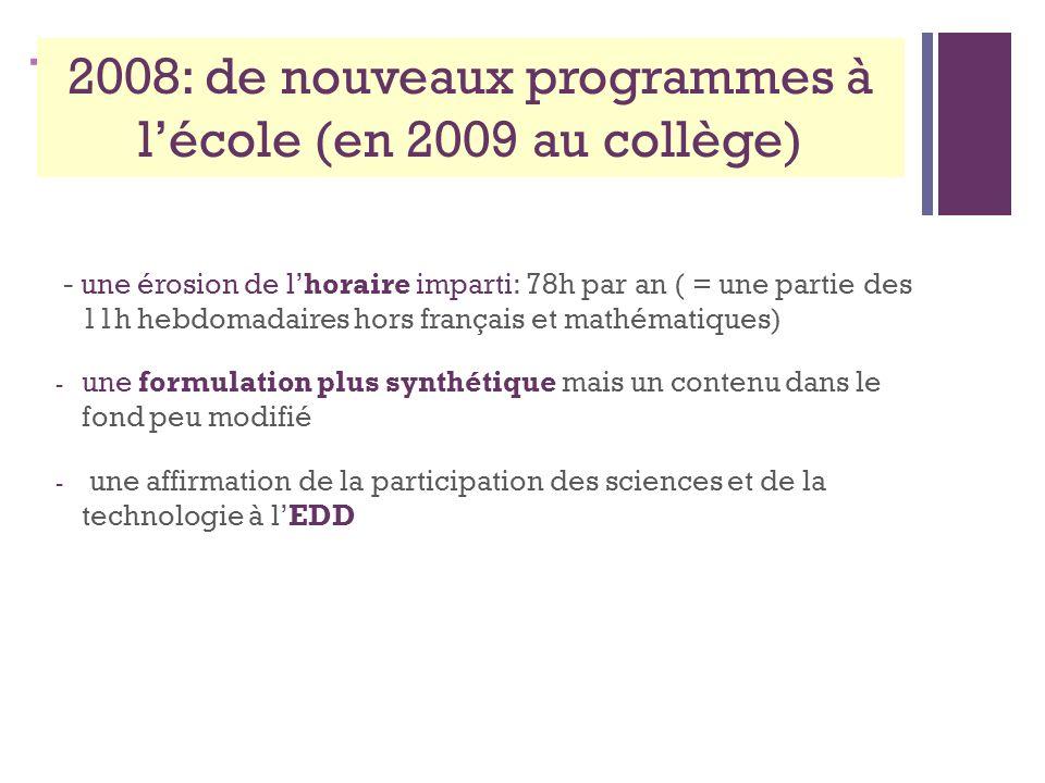 + 2008: de nouveaux programmes à lécole (en 2009 au collège) - une érosion de lhoraire imparti: 78h par an ( = une partie des 11h hebdomadaires hors français et mathématiques) - une formulation plus synthétique mais un contenu dans le fond peu modifié - une affirmation de la participation des sciences et de la technologie à lEDD
