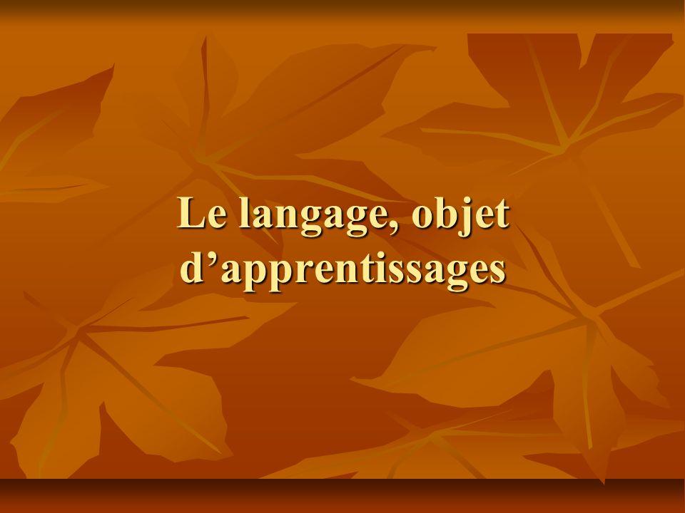 Le langage, objet dapprentissages