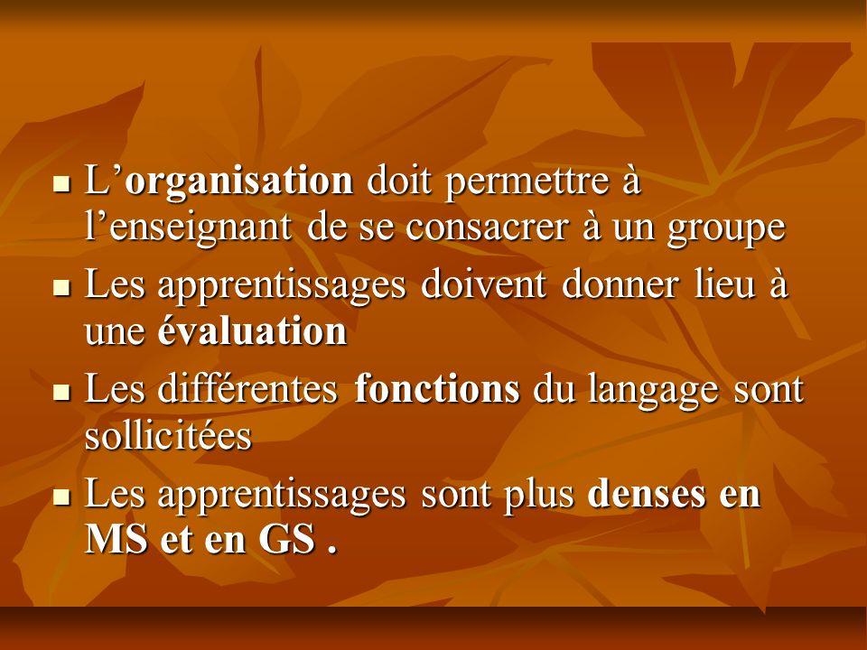 Lorganisation doit permettre à lenseignant de se consacrer à un groupe Lorganisation doit permettre à lenseignant de se consacrer à un groupe Les appr