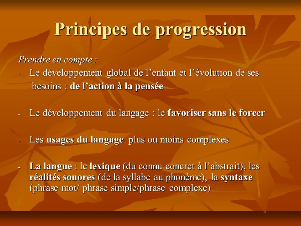 Principes de progression Prendre en compte : - Le développement global de lenfant et lévolution de ses besoins : de laction à la pensée besoins : de l