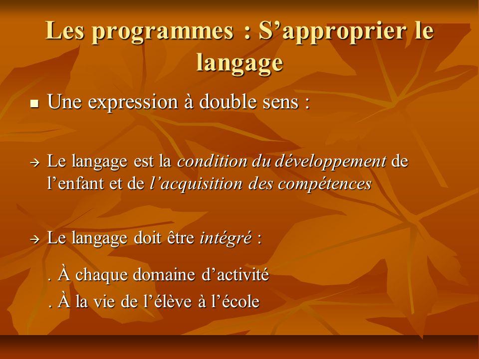 Les programmes : Sapproprier le langage Une expression à double sens : Une expression à double sens : Le langage est la condition du développement de