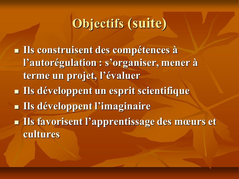 Objectifs (suite) Ils construisent des compétences à lautorégulation : sorganiser, mener à terme un projet, lévaluer Ils construisent des compétences