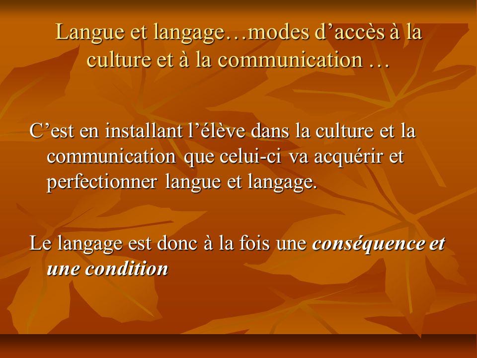 Langue et langage…modes daccès à la culture et à la communication … Cest en installant lélève dans la culture et la communication que celui-ci va acqu