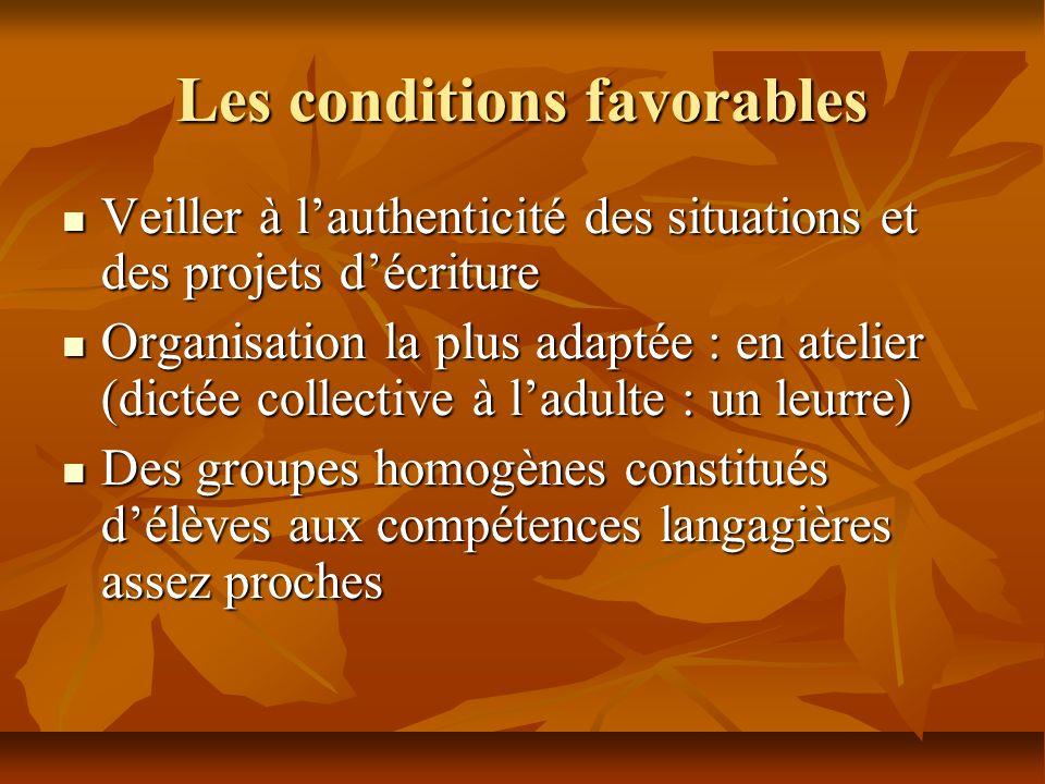 Les conditions favorables Veiller à lauthenticité des situations et des projets décriture Veiller à lauthenticité des situations et des projets décrit
