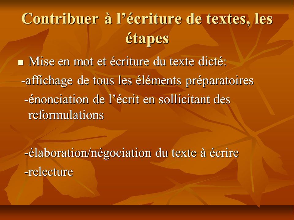 Contribuer à lécriture de textes, les étapes Mise en mot et écriture du texte dicté: Mise en mot et écriture du texte dicté: -affichage de tous les él
