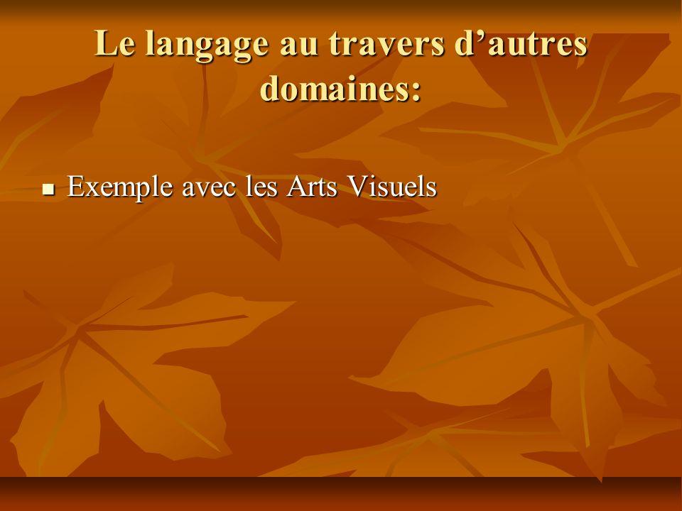 Le langage au travers dautres domaines: Exemple avec les Arts Visuels Exemple avec les Arts Visuels