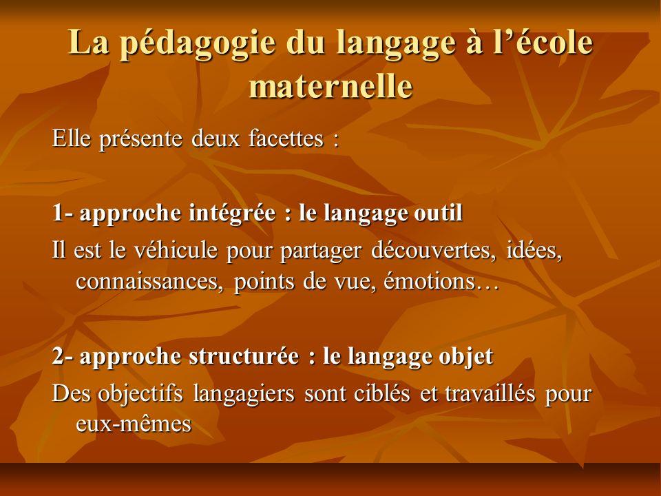 La pédagogie du langage à lécole maternelle Elle présente deux facettes : 1- approche intégrée : le langage outil Il est le véhicule pour partager déc