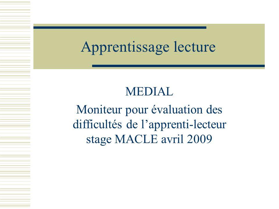Apprentissage lecture MEDIAL Moniteur pour évaluation des difficultés de lapprenti-lecteur stage MACLE avril 2009