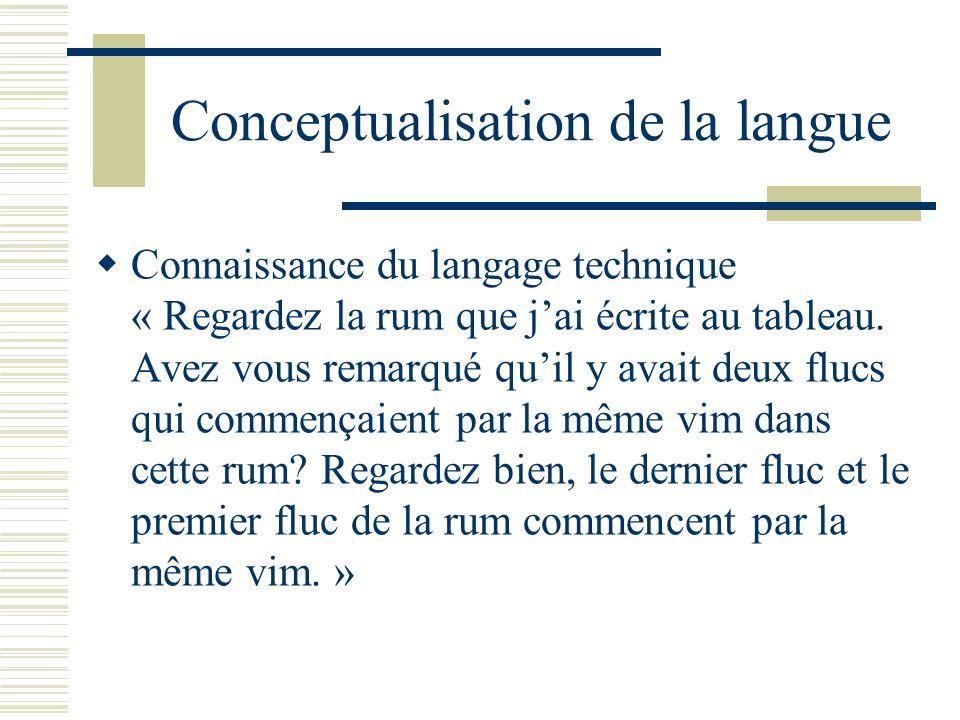 Conceptualisation de la langue Connaissance du langage technique « Regardez la rum que jai écrite au tableau. Avez vous remarqué quil y avait deux flu