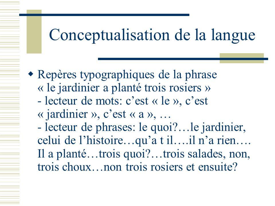 Conceptualisation de la langue Repères typographiques de la phrase « le jardinier a planté trois rosiers » - lecteur de mots: cest « le », cest « jard