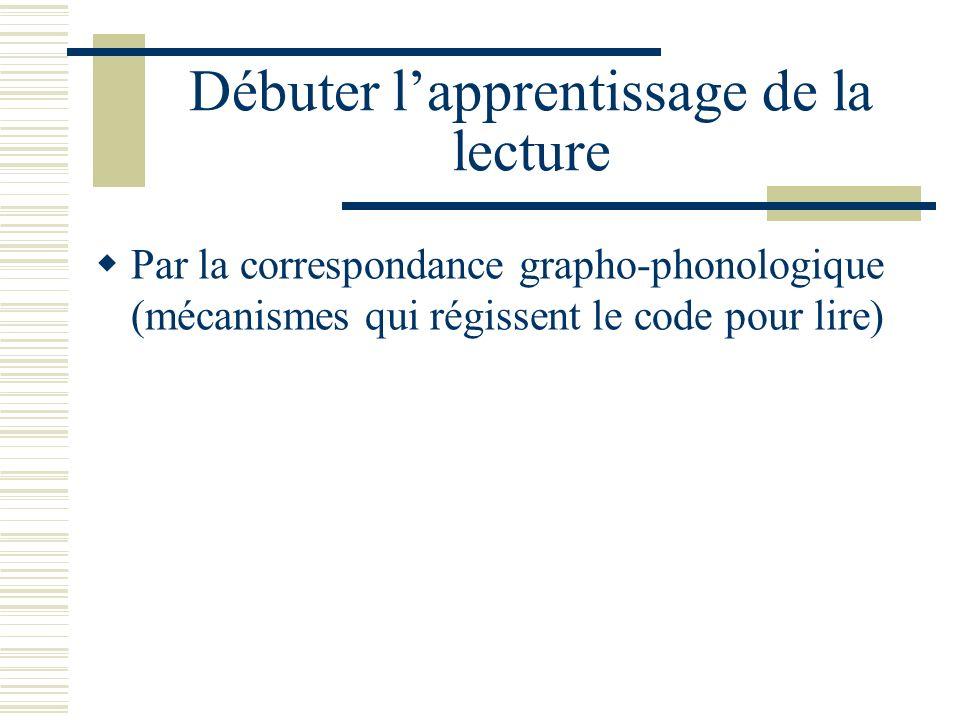 Débuter lapprentissage de la lecture Par la correspondance grapho-phonologique (mécanismes qui régissent le code pour lire)