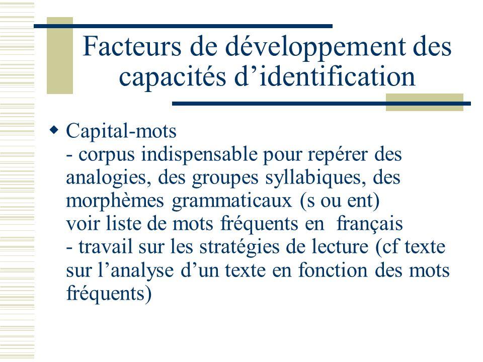 Facteurs de développement des capacités didentification Capital-mots - corpus indispensable pour repérer des analogies, des groupes syllabiques, des m