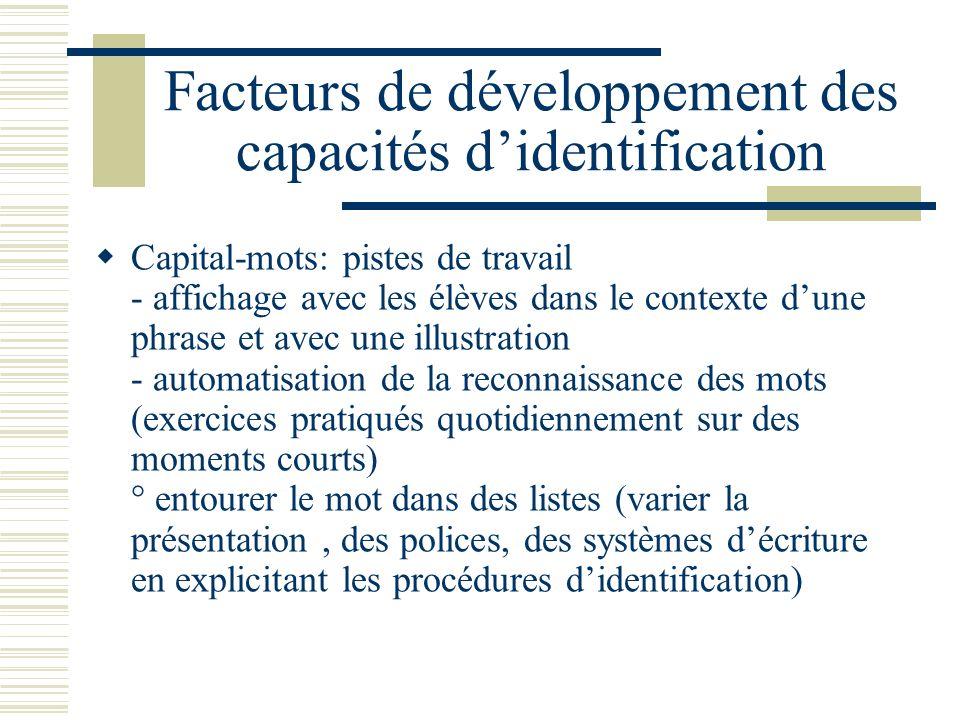 Facteurs de développement des capacités didentification Capital-mots: pistes de travail - affichage avec les élèves dans le contexte dune phrase et av