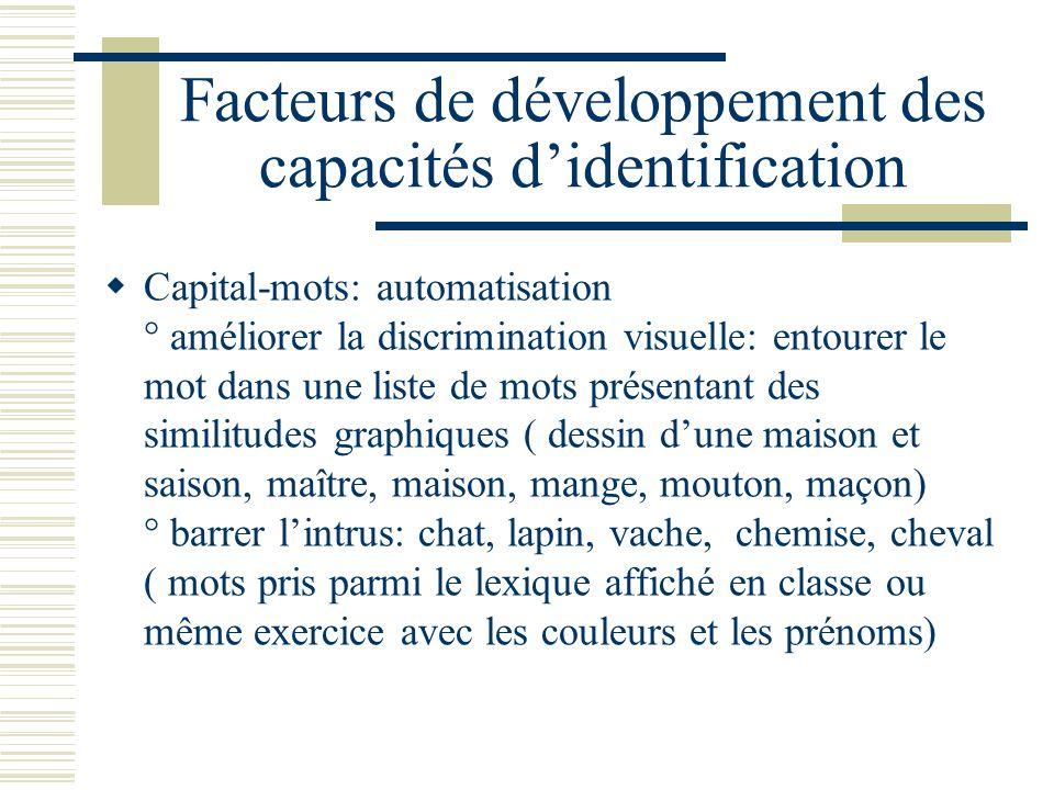 Facteurs de développement des capacités didentification Capital-mots: automatisation ° améliorer la discrimination visuelle: entourer le mot dans une