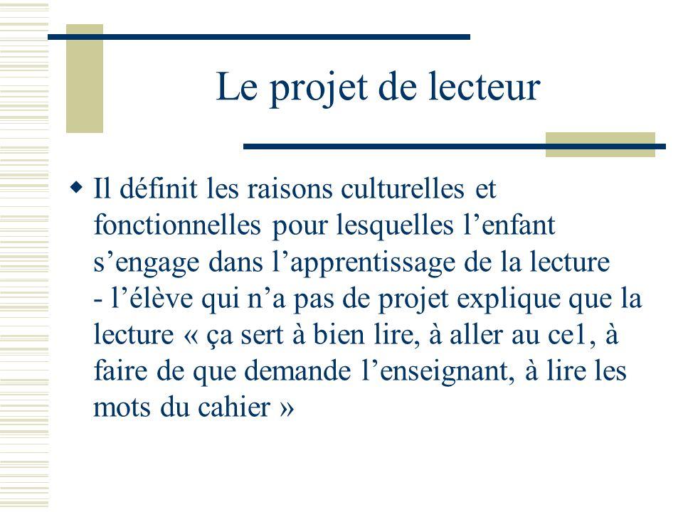 Le projet de lecteur Il définit les raisons culturelles et fonctionnelles pour lesquelles lenfant sengage dans lapprentissage de la lecture - lélève q