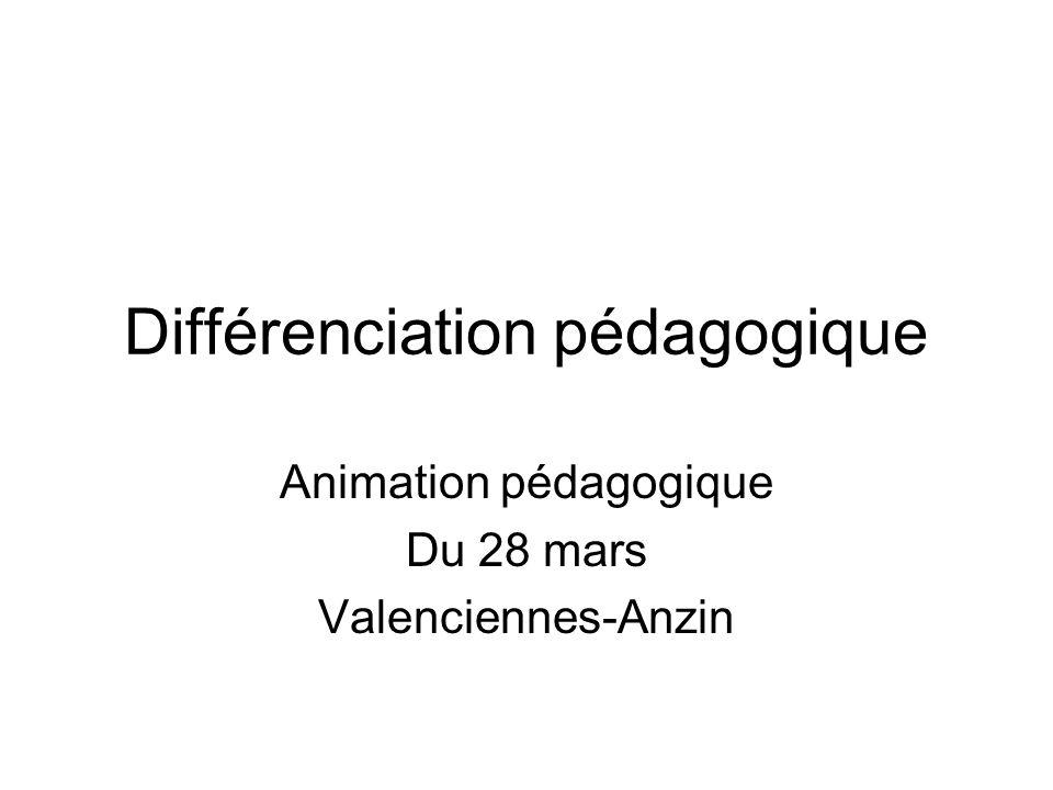 Différenciation pédagogique Animation pédagogique Du 28 mars Valenciennes-Anzin
