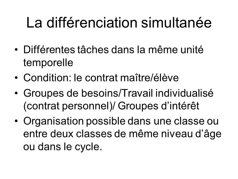 La différenciation simultanée Différentes tâches dans la même unité temporelle Condition: le contrat maître/élève Groupes de besoins/Travail individua