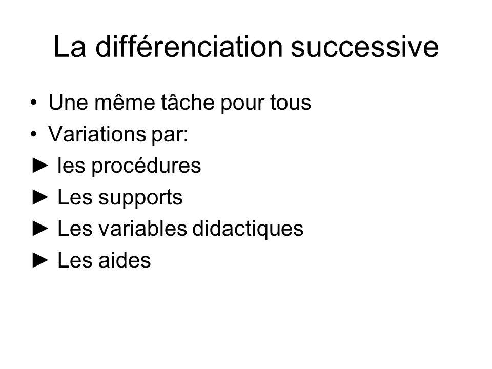 La différenciation successive Une même tâche pour tous Variations par: les procédures Les supports Les variables didactiques Les aides