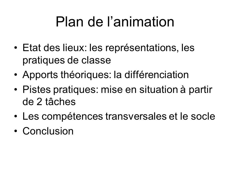 Plan de lanimation Etat des lieux: les représentations, les pratiques de classe Apports théoriques: la différenciation Pistes pratiques: mise en situa