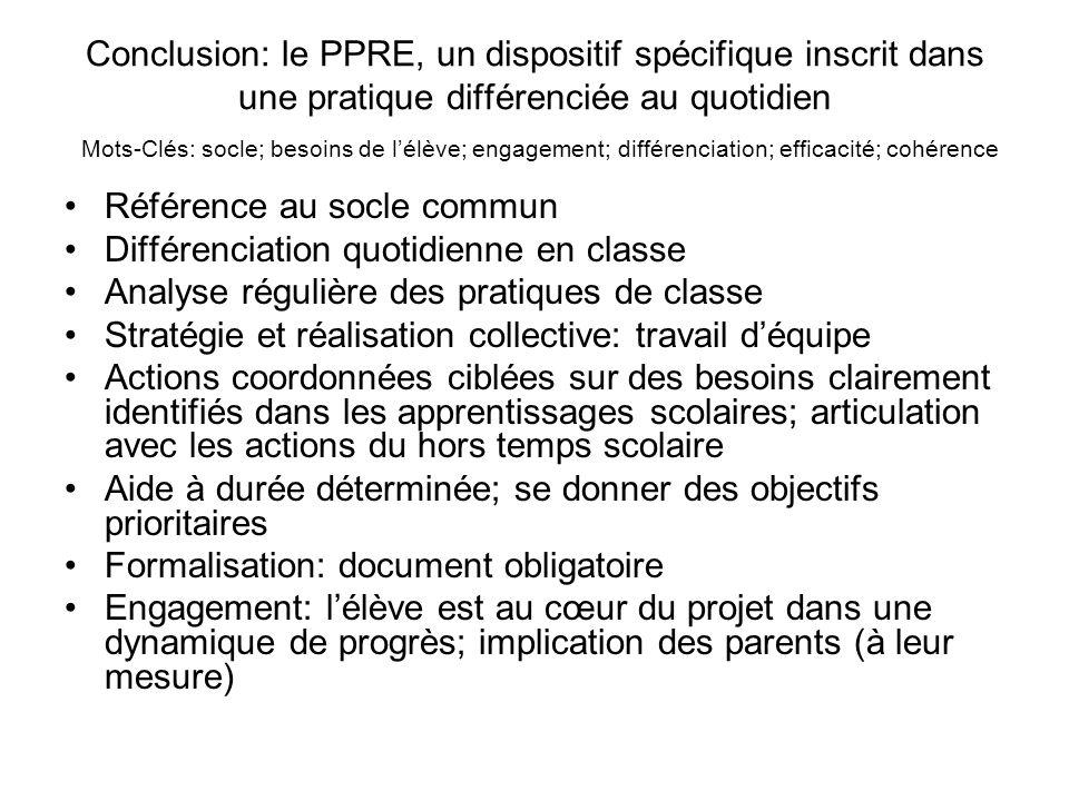 Conclusion: le PPRE, un dispositif spécifique inscrit dans une pratique différenciée au quotidien Mots-Clés: socle; besoins de lélève; engagement; dif