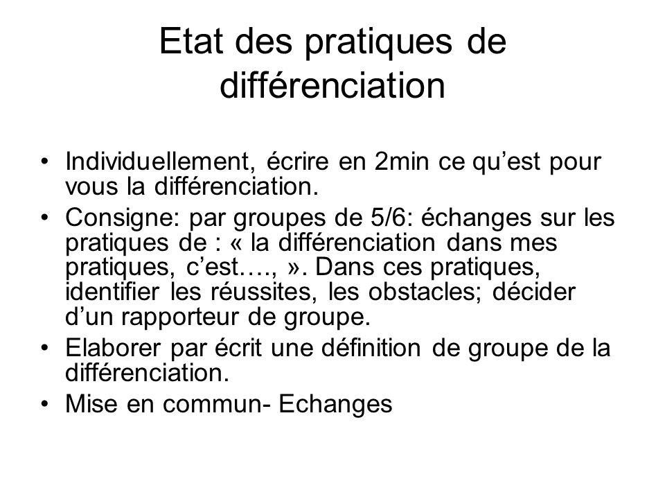 Etat des pratiques de différenciation Individuellement, écrire en 2min ce quest pour vous la différenciation. Consigne: par groupes de 5/6: échanges s