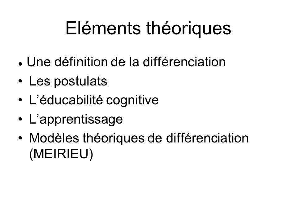 Eléments théoriques Une définition de la différenciation Les postulats Léducabilité cognitive Lapprentissage Modèles théoriques de différenciation (ME