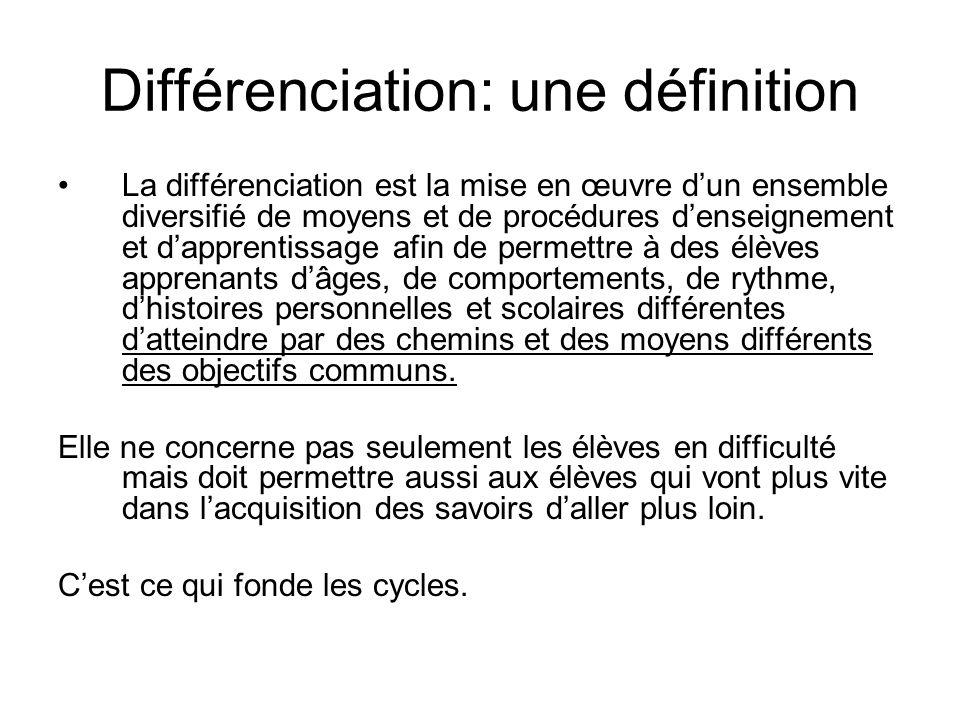 Différenciation: une définition La différenciation est la mise en œuvre dun ensemble diversifié de moyens et de procédures denseignement et dapprentis