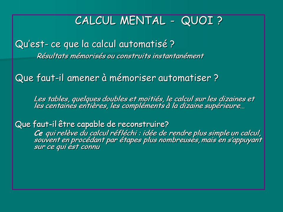 CALCUL MENTAL - QUOI ? CALCUL MENTAL - QUOI ? Quest- ce que la calcul automatisé ? Résultats mémorisés ou construits instantanément Résultats mémorisé