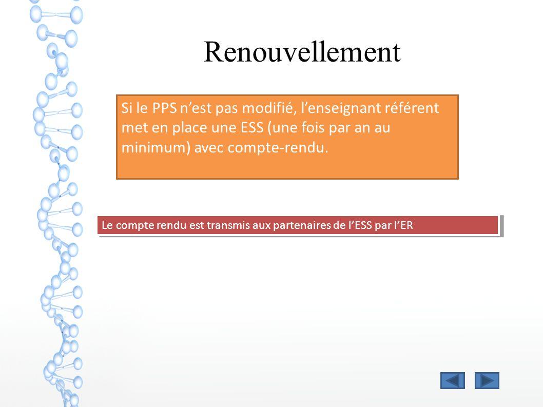 Renouvellement Si le PPS nest pas modifié, lenseignant référent met en place une ESS (une fois par an au minimum) avec compte-rendu. Le compte rendu e