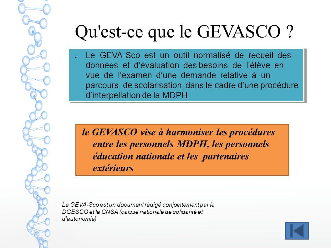 Qu'est-ce que le GEVASCO ? Le GEVA-Sco est un outil normalisé de recueil des données et dévaluation des besoins de lélève en vue de lexamen dune deman