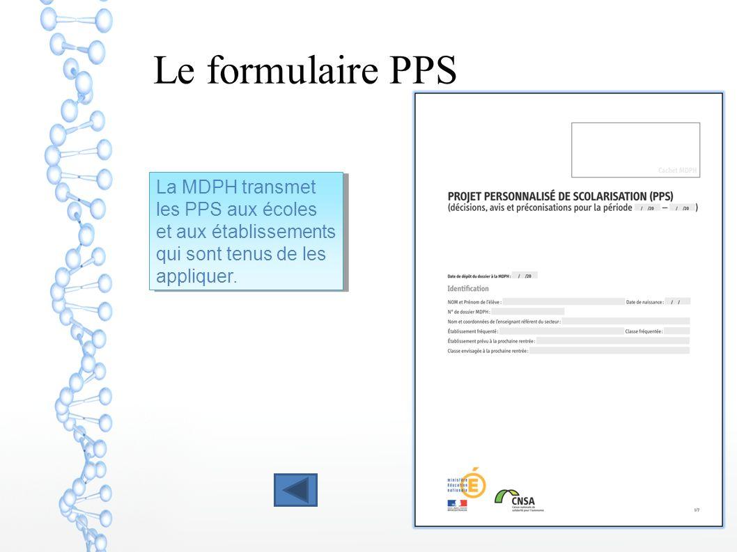 Le formulaire PPS La MDPH transmet les PPS aux écoles et aux établissements qui sont tenus de les appliquer.
