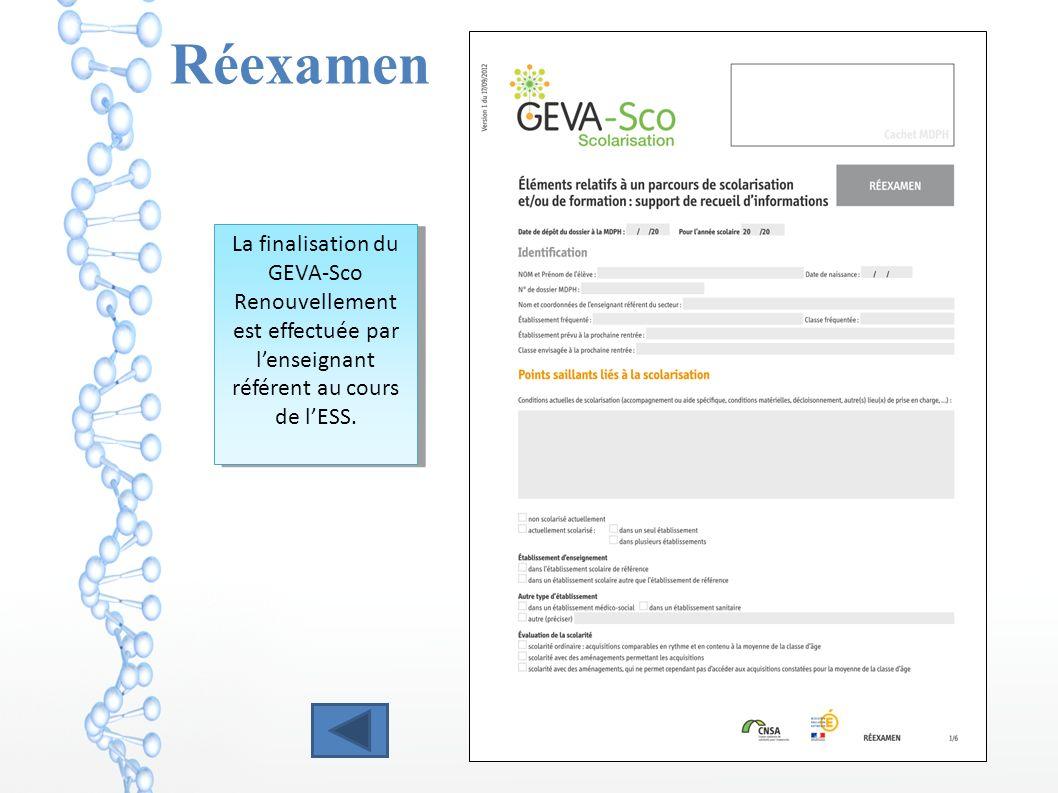 Réexamen La finalisation du GEVA-Sco Renouvellement est effectuée par lenseignant référent au cours de lESS.