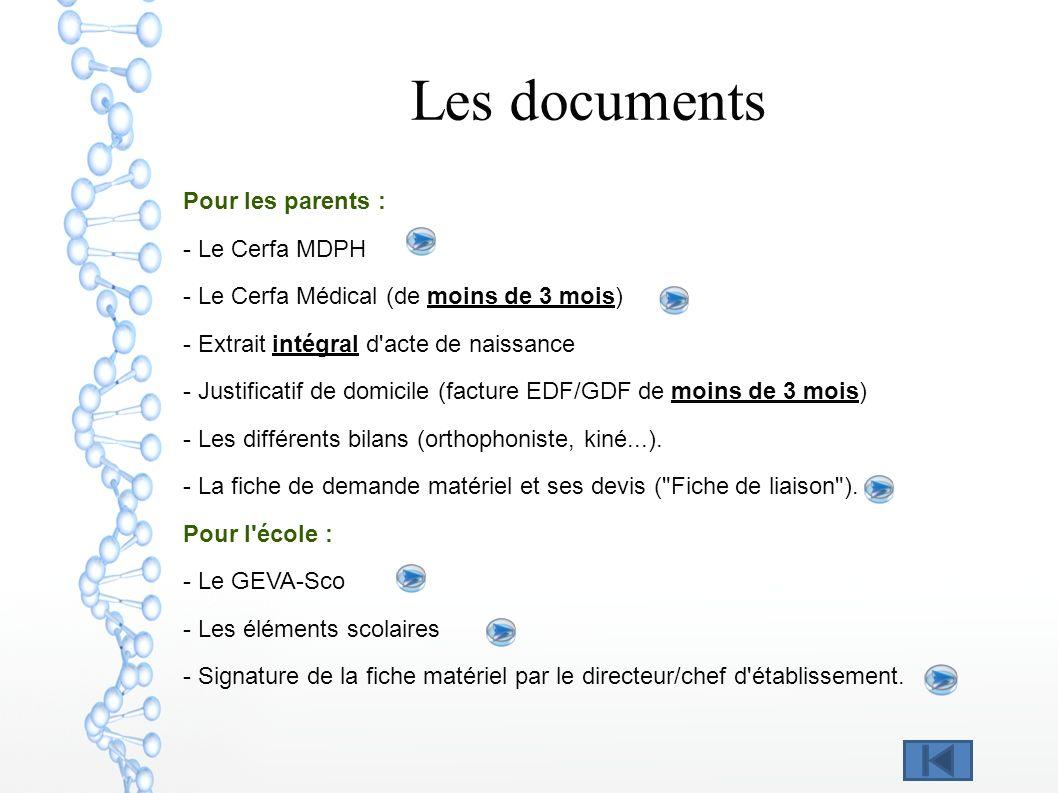 Les documents Pour les parents : - Le Cerfa MDPH - Le Cerfa Médical (de moins de 3 mois) - Extrait intégral d'acte de naissance - Justificatif de domi
