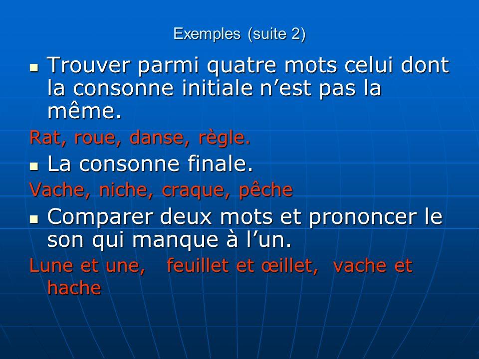 Exemples (suite 2) Trouver parmi quatre mots celui dont la consonne initiale nest pas la même. Trouver parmi quatre mots celui dont la consonne initia