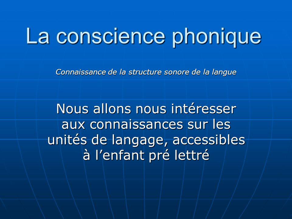 La conscience phonique Connaissance de la structure sonore de la langue Nous allons nous intéresser aux connaissances sur les unités de langage, acces