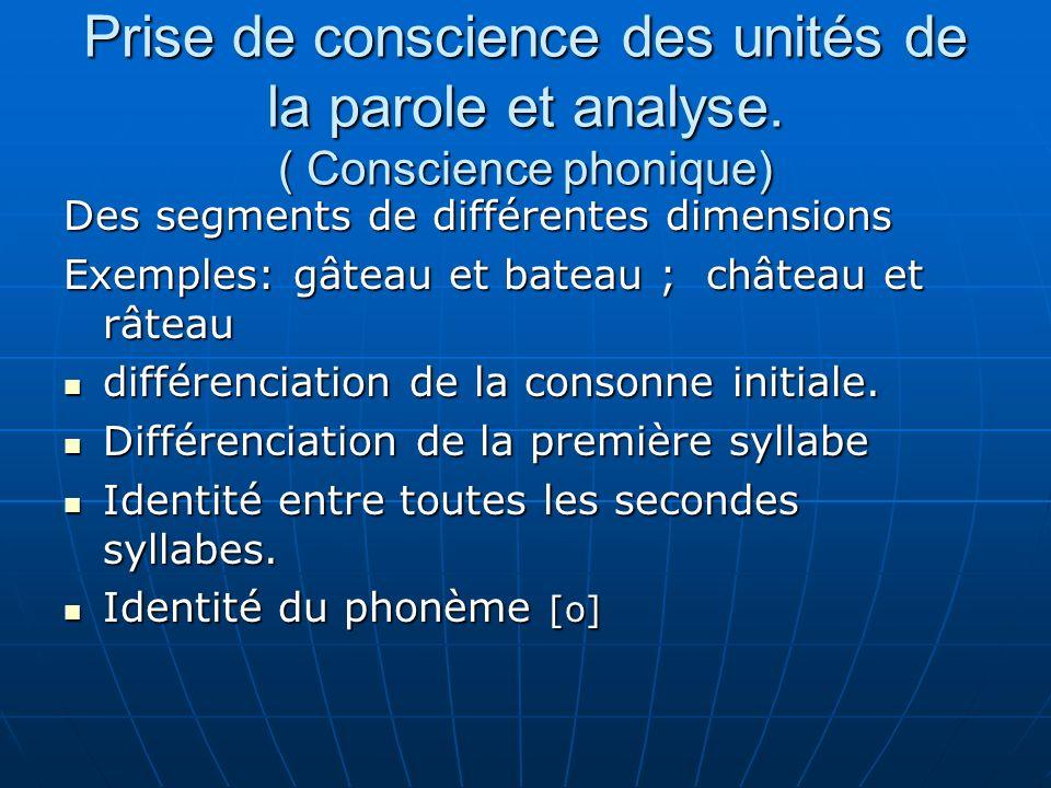 Prise de conscience des unités de la parole et analyse. ( Conscience phonique) Des segments de différentes dimensions Exemples: gâteau et bateau ; châ