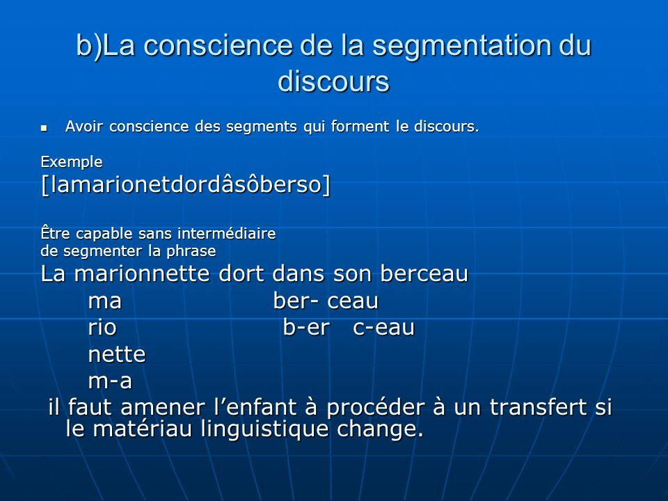 b)La conscience de la segmentation du discours Avoir conscience des segments qui forment le discours. Avoir conscience des segments qui forment le dis