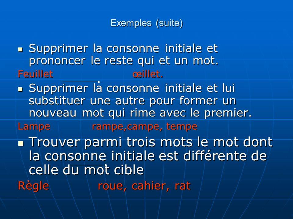 Exemples (suite) Supprimer la consonne initiale et prononcer le reste qui et un mot. Supprimer la consonne initiale et prononcer le reste qui et un mo