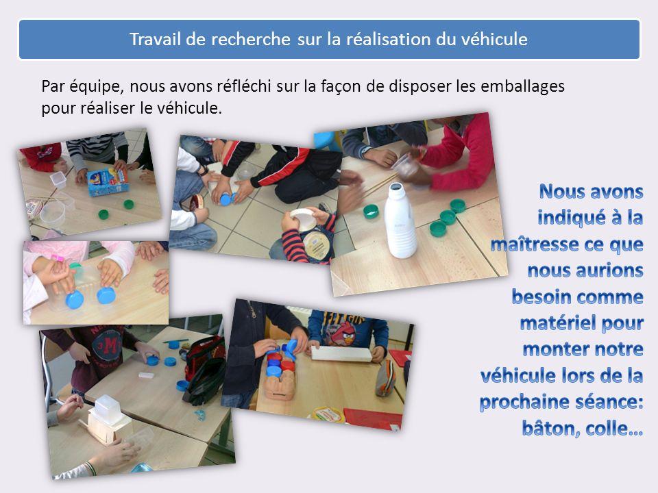 Travail de recherche sur la réalisation du véhicule Par équipe, nous avons réfléchi sur la façon de disposer les emballages pour réaliser le véhicule.