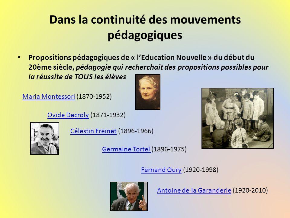 Dans la continuité des mouvements pédagogiques Propositions pédagogiques de « lEducation Nouvelle » du début du 20ème siècle, pédagogie qui recherchai