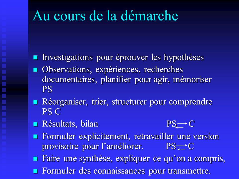 Au cours de la démarche Investigations pour éprouver les hypothèses Investigations pour éprouver les hypothèses Observations, expériences, recherches