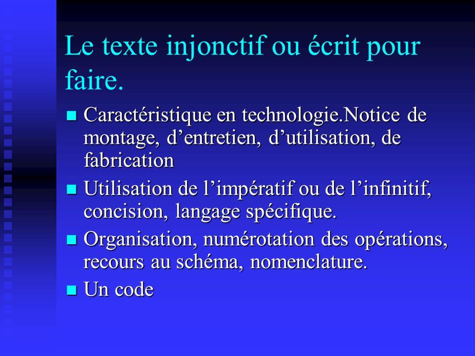 Le texte injonctif ou écrit pour faire. Caractéristique en technologie.Notice de montage, dentretien, dutilisation, de fabrication Caractéristique en