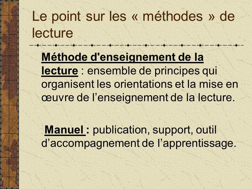 Le point sur les « méthodes » de lecture Méthode d'enseignement de la lecture : ensemble de principes qui organisent les orientations et la mise en œu