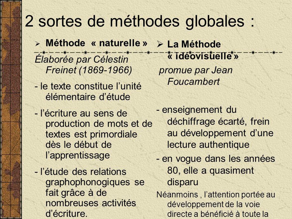 2 sortes de méthodes globales : Méthode « naturelle » Élaborée par Célestin Freinet (1869-1966) - le texte constitue lunité élémentaire détude - lécri