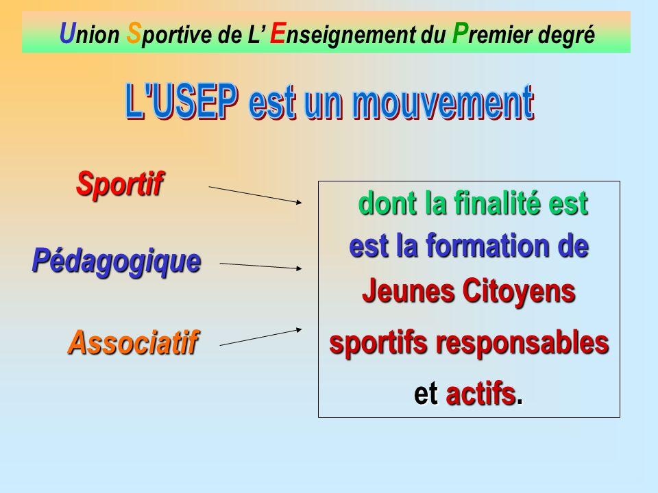 Sportif U nion S portive de L E nseignement du P remier degré dont la finalité est dont la finalité est est la formation de Jeunes Citoyens sportifs responsables et actifs.